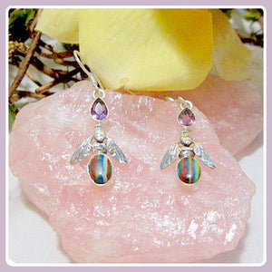 """Inner Peace"" Rainbow Calsilica & Amethyst Bumble Bee Sterling Silver Earrings"