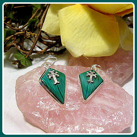 Unconditional Love Malachite Cross Sterling Silver Earrings