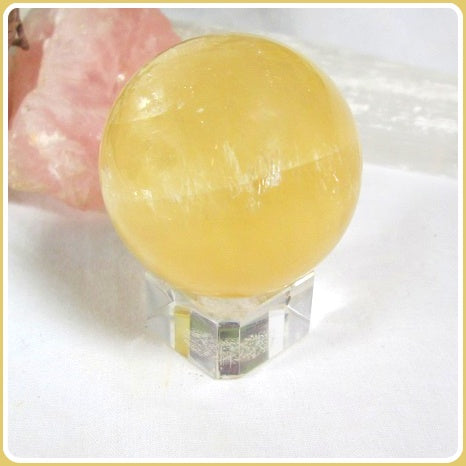 Citrine Quartz Crystal Ball & Stand 40mm