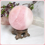 """Abundance of Love "" Rose Quartz Crystal Ball & Stand 61mm"