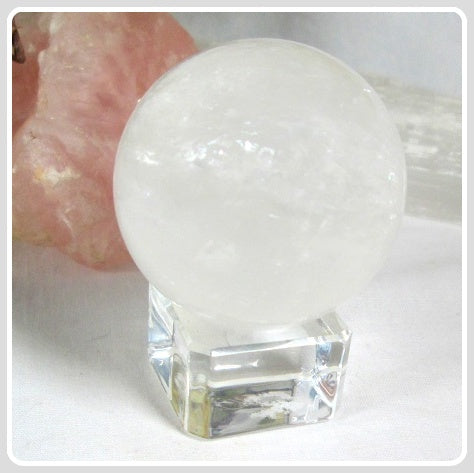 Healing Clear Rainbow Quartz Crystal Ball & Stand - 50mm