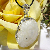 Snow Mist Solar Quartz Druzy Necklace