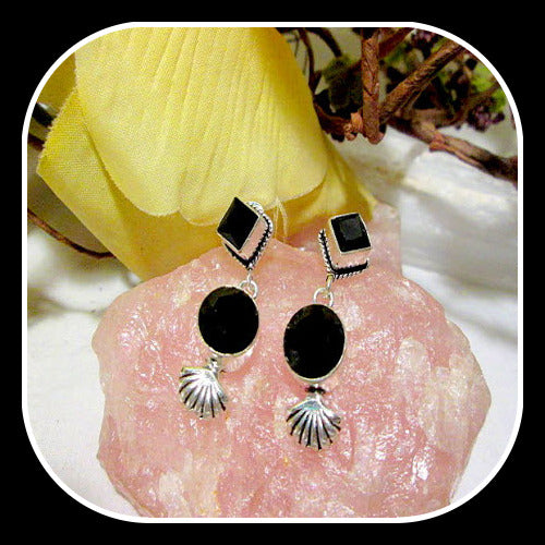 Grounding Protecting Black Onyx Stud Earrings