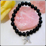 """Hope""  Black Obsidian Butterfly Bracelet"