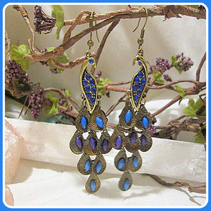 Blue Rhinestone Peacock Earrings