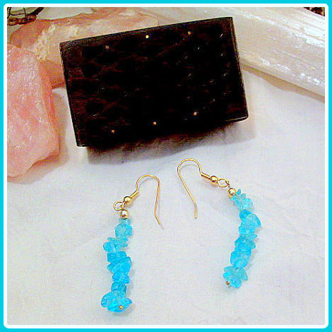 Healing Blue Topaz Chip Earrings