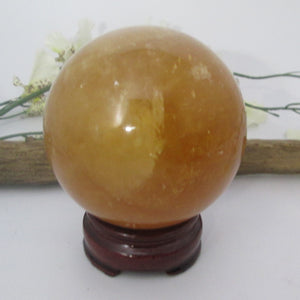 """Full of Inspiration  Honey Calcite Sphere & Stand"
