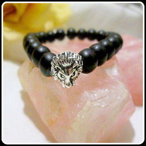 """Under Protection"" Black Agate Lion Bracelet"