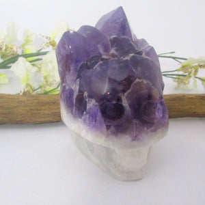"""Inner Peace"" Chevron Amethyst Point Cluster Skull"