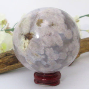 Flower Agate Sphere & Stand