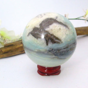 """New Beginnings"" Caribbean Blue Calcite Sphere & Stand"