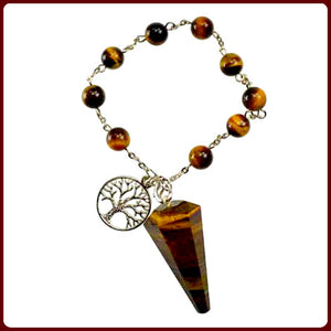 """Power Stone"" Tiger's Eye Tree of Life Pendulum Bracelet"