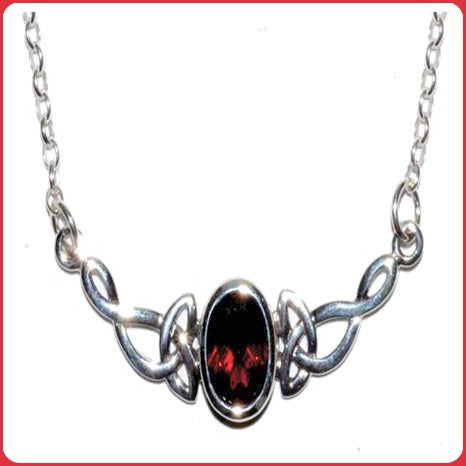 Celtic Oval Garnet Sterling Silver Necklace