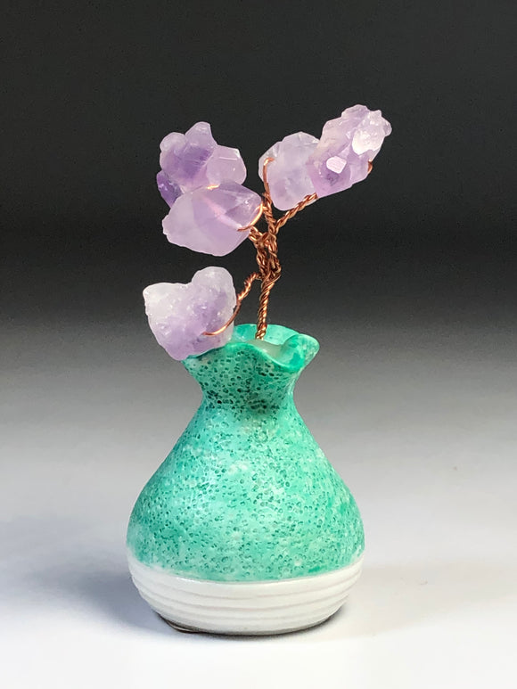 Amethyst Bouquet  Green Vase