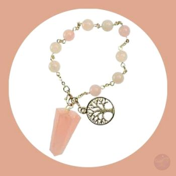 Abundance Of Love Rose Quartz Tree Life Pendulum Bracelet