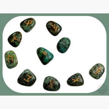 African Turquoise Rune Set Mystical Moons