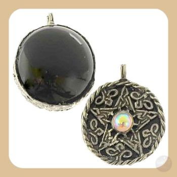 Black Onyx Scrying Disk Necklace Mystical Moons