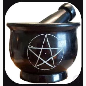 Black Pentagram Soapstone M & P Set Mortar Pestles Mystical Moons