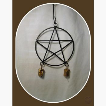 Black Pentagram Wind Chime Mystical Moons