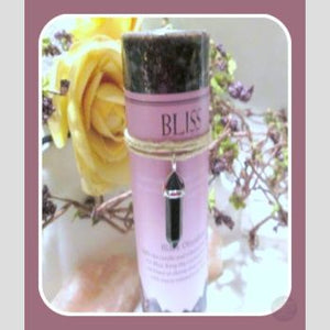Bliss Pillar Candle With Black Obsidian Pendant Candles Mystical Moons