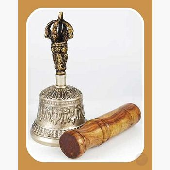 Bronze Tibetan Hand Bell & Puja Stick Alter Bells Mystical Moons