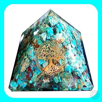 Chrysocolla & Orgone Tree Of Life Pyramid - 70Mm Mystical Moons