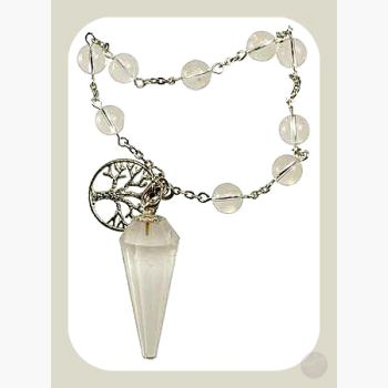 Clarity & Wisdom Clear Quartz Tree Of Life Pendulum Bracelet Mystical Moons