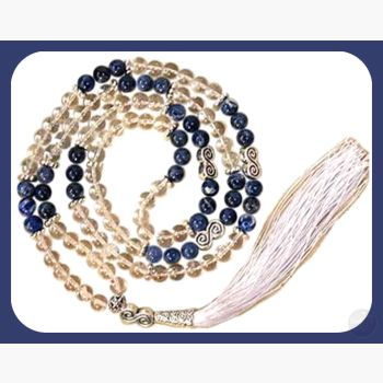 Clear Quartz & Sodalite Double Spiral Mala Mystical Moons