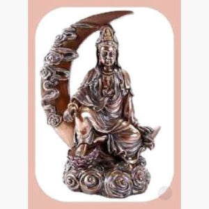 Crescent Moon Kuan Yin Goddess Statue Mystical Moons