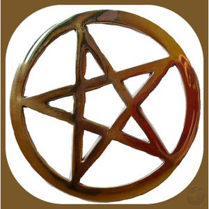 Gold Plated Pentagram Cut Out Altar Tile Mystical Moons