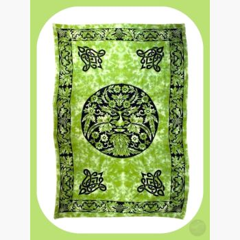 Green & Black Greenman Tapestry Mystical Moons
