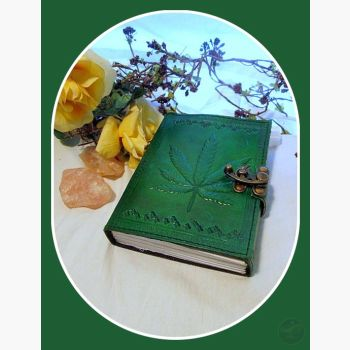 Green Leaf Latched Leather Journal Journals Mystical Moons