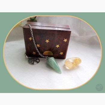 Growth Success & Renewal Green Aventurine Pendulum Citrine Celestial Set Mystical Moons