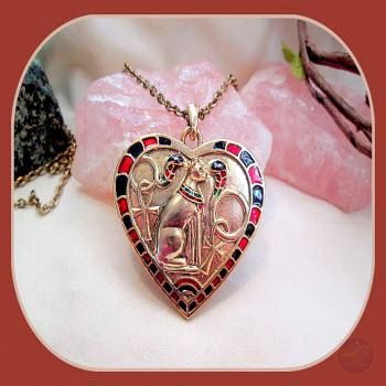 Heart Bastet Necklace Mystical Moons