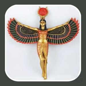 Isis Egyptian Goddess Open Wings Wall Plaque Statue Mystical Moons