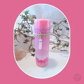 Love Pillar Candle With Rose Quartz Pendant Candles Mystical Moons