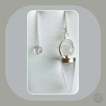 Master Healer Clear Quartz Teardrop & Crystal Ball Pendulum Mystical Moons