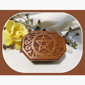 Octagonal Pentagram Keepsake Box Mystical Moons