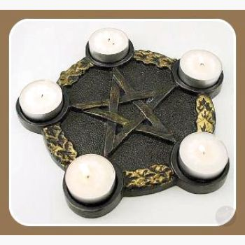 Pentagram Candle Holder Altar Plate Mystical Moons