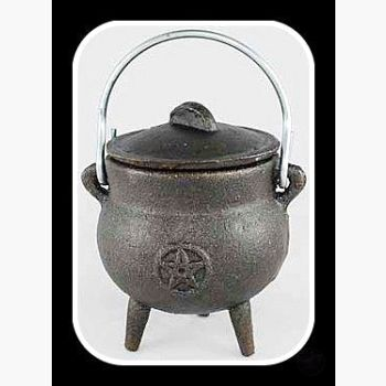 Pentagram Cast Iron Cauldron With Lid Cauldrons Mystical Moons