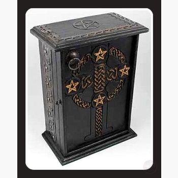 Pentagram & Celtic Cross Altar Cupboard Mystical Moons