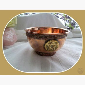 Pentagram Copper Brass Offering Bowl Bowls Mystical Moons