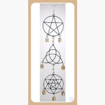 Pentagram Triquetra Solomon's Seal Wind Chime Mystical Moons