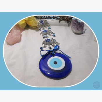 Power Wisdom Protection Three Elephant Evil Eye Hanging Wall Plaque Mystical Moons