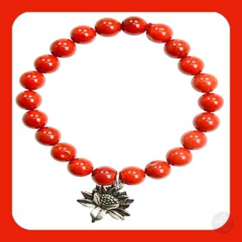 Promise Lotus Flower Red Jasper Bracelet
