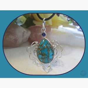 Protector Turquoise Amethyst Sterling Silver Pendant Pendants Mystical Moons