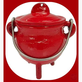 Red Cast Iron Cauldron With Lid Cauldrons Mystical Moons