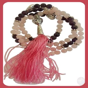 Rose Quartz & Amethyst Heart Mala Mystical Moons