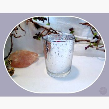 Silver Glass Votive Candle Holder Mystical Moons