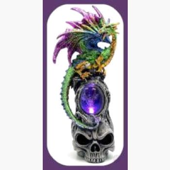 Skull Dragon Led Light Statue Mystical Moons